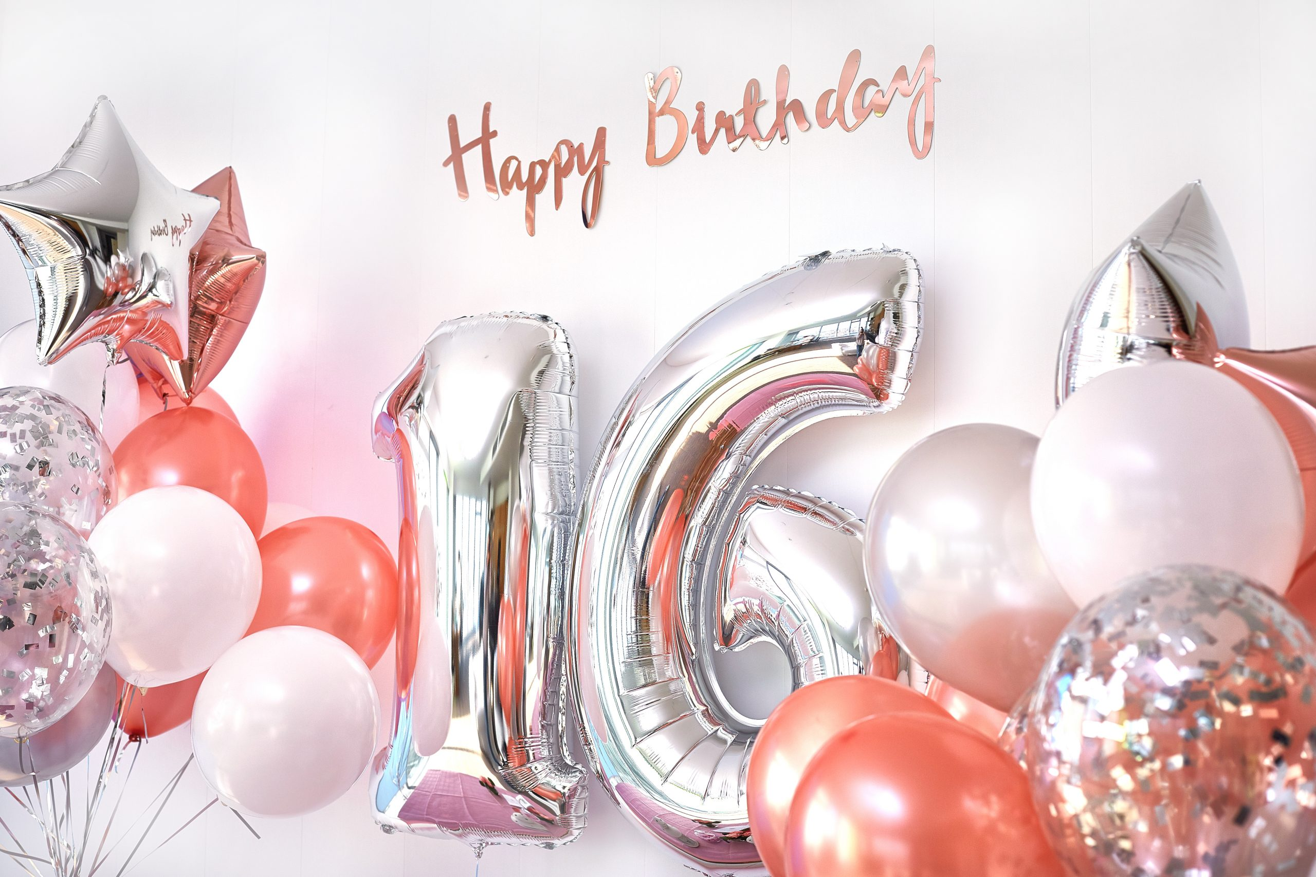 Balloons and number 16 of birthday balloons. Greeting card for teenage girls.